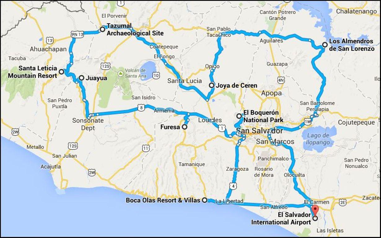 El Salvador Discovery Tour Route